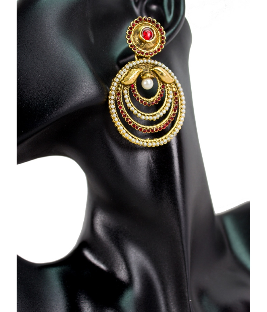 Maroon Stone and Pearl Earring