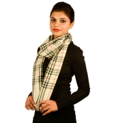 White Checked Pashmina Stole