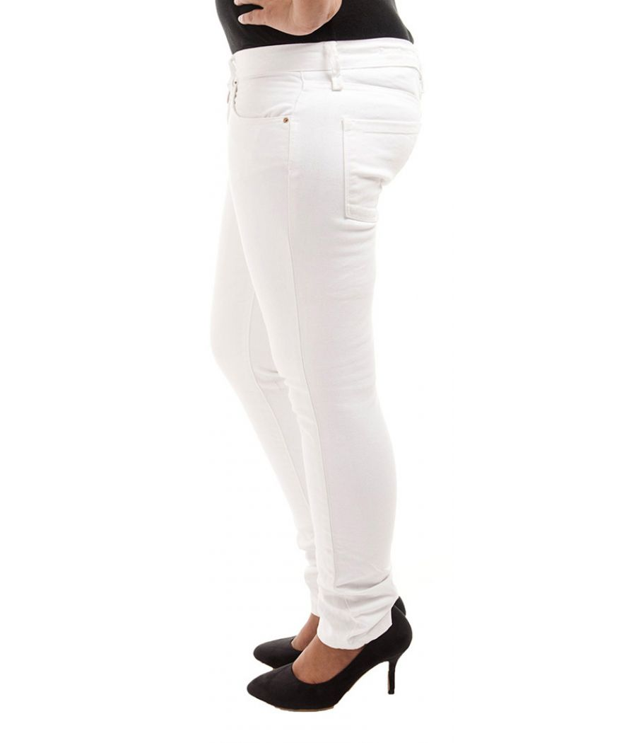 Zara Woman Denim Solid Off White Straight Cut Flat Front Casual Jeans