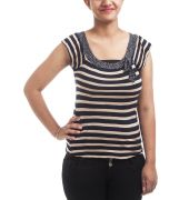 Levis Plain Stripes Blue & Gold Coloured Half Sleeved U Neck Casual Top