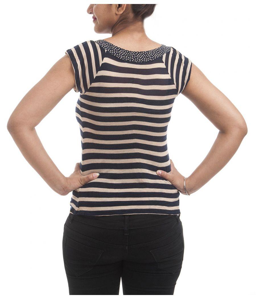 Levis Plain Stripes Blue & Gold Coloured Half Sleeved U Neck Casual Top