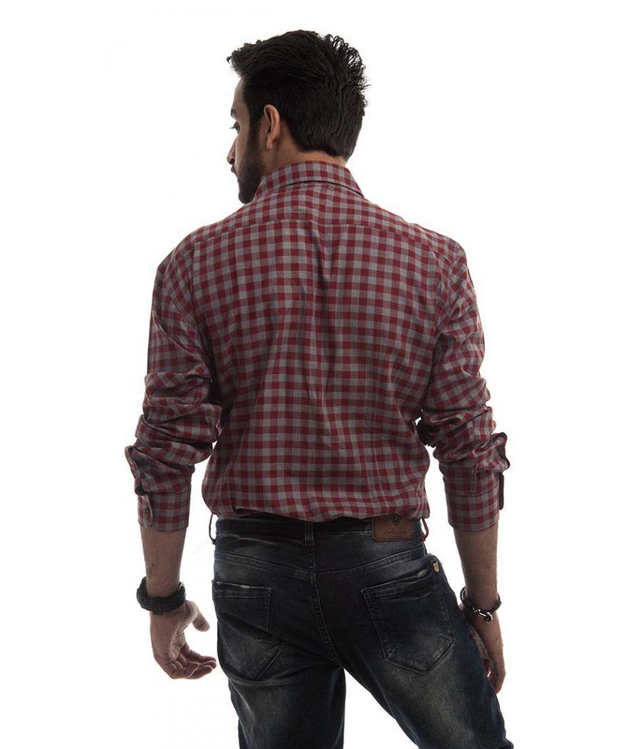 Zara Man Cotton Plain Checkered Maroon & Grey Regular Fit Formal Shirt
