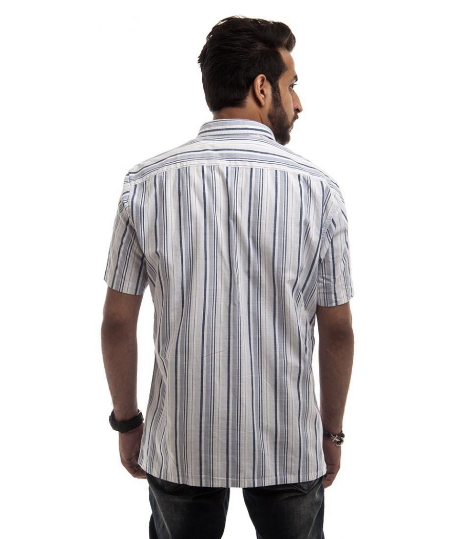 Bare Leisure Cotton Plain Navy Blue & White Regular Fit Formal Shirt
