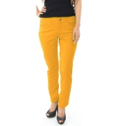 Pieces Cotton Straight Yellow Trousers