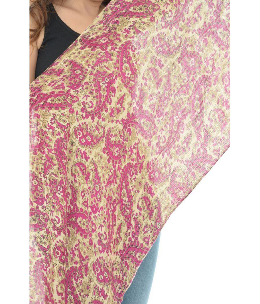 Cotton Blend Paisley Print Maroon Stole