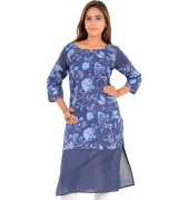 W Cotton Floral Printed Blue Kurti