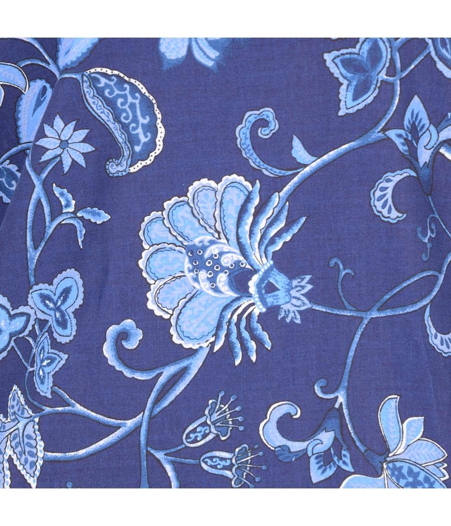 W Cotton Floral Printed Blue Kurti