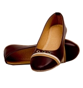Rudra Collection Synthetic Leather Coffee Brown Flat Bellies