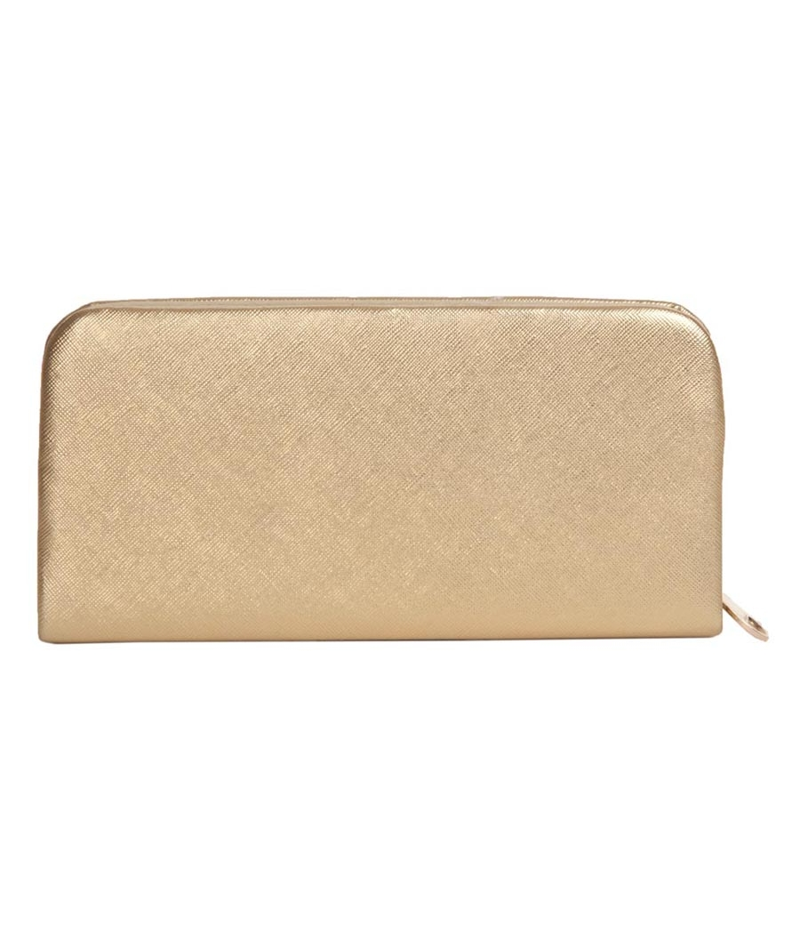 Envie Faux Leather Cream Coloured Fold Over Magnetic Snap Clutch for Women
