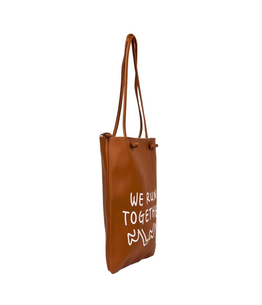Envie Faux Leather Solid Brown Zipper Closure Casual Tote Bag