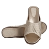 MCS Synthetic Leather Gold Open Toe Broad Strap Party Wedges