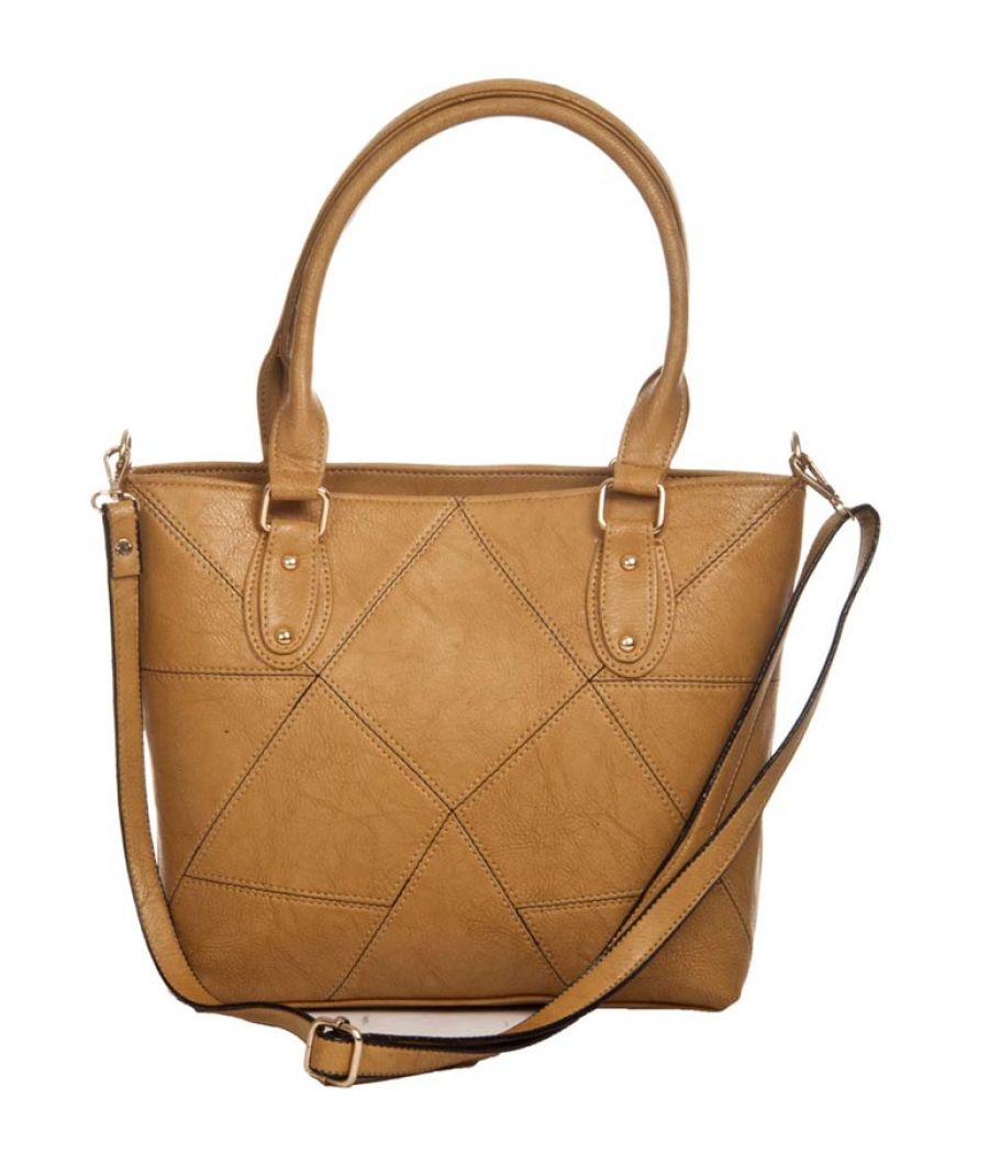 Aliado Faux Leather Solid Beige Zipper Closure Tote Bag