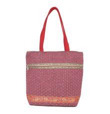 Aliado Jute Pink  Coloured Zipper Closure Bag