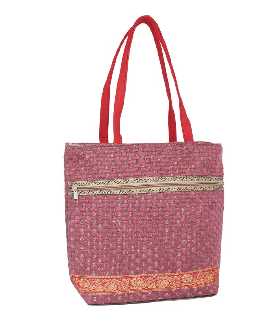 Aliado Jute Pink  Coloured Zipper Closure Bag