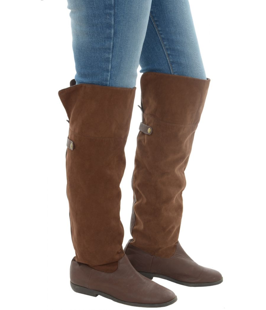Suede/Faux Leather Knee High Brown Boots