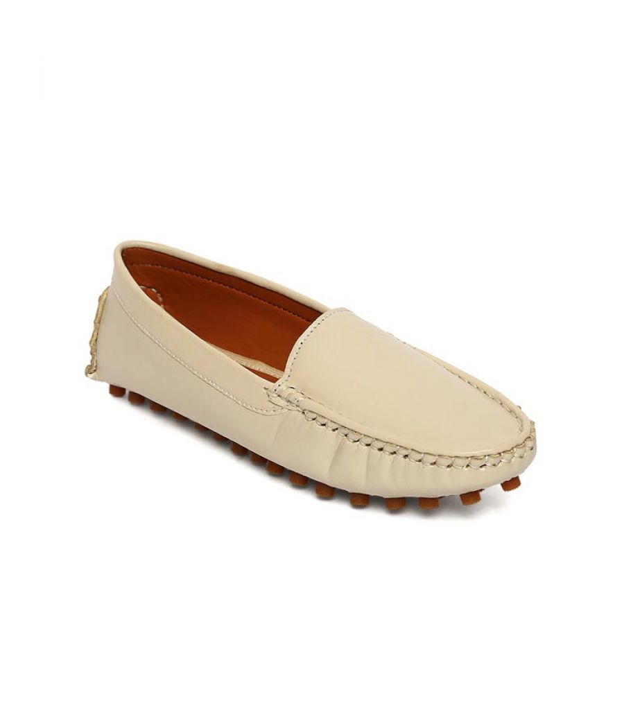 Estatos Broad Toe Beige Comfortable Flat Slip On Loafers for Women