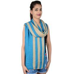 Etashee Certified Blue and Beige Stripes Stole