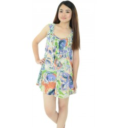 Frilled Abstract Printed Dress