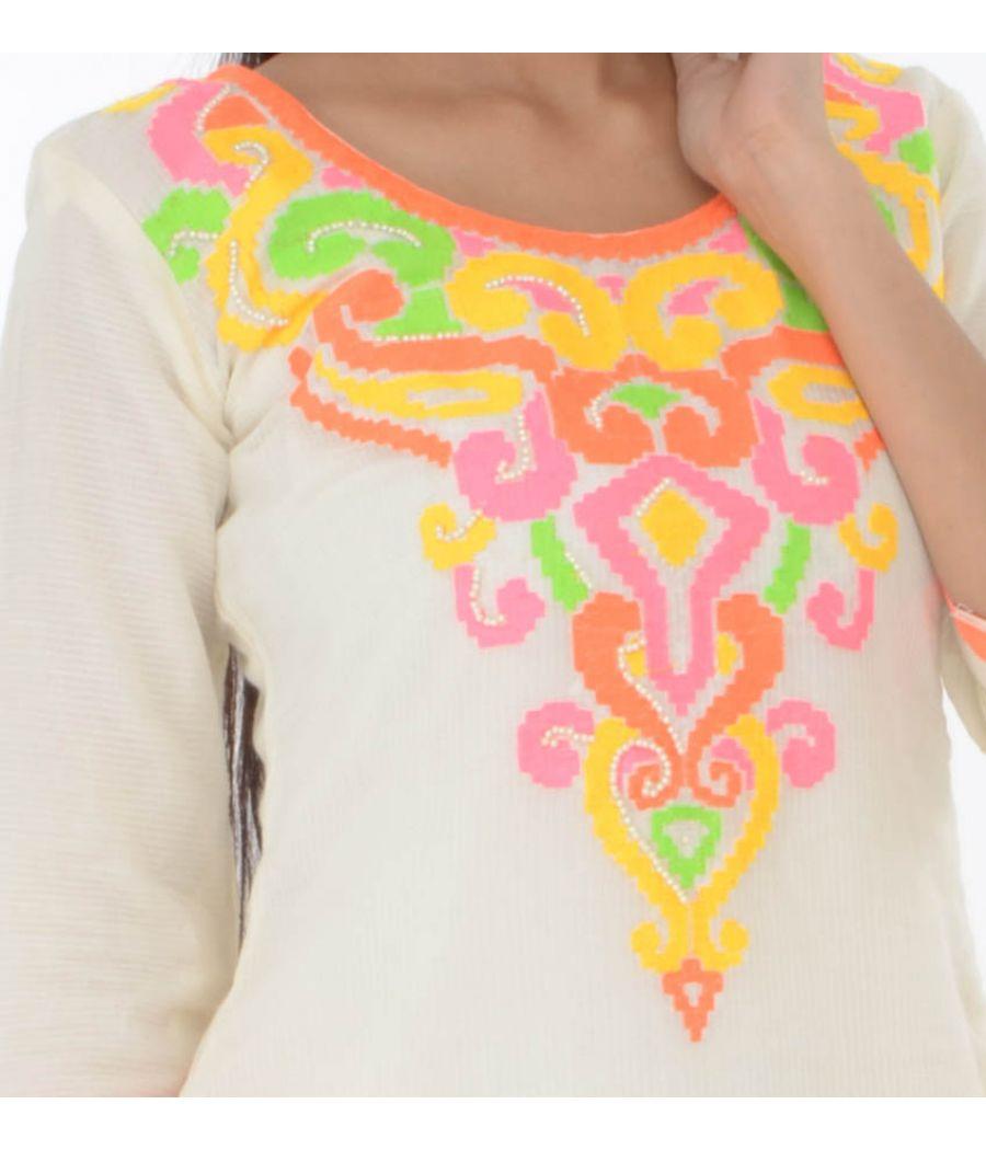 Etashee Certified Ethnic Fusion Embroidered Cotton Kurti