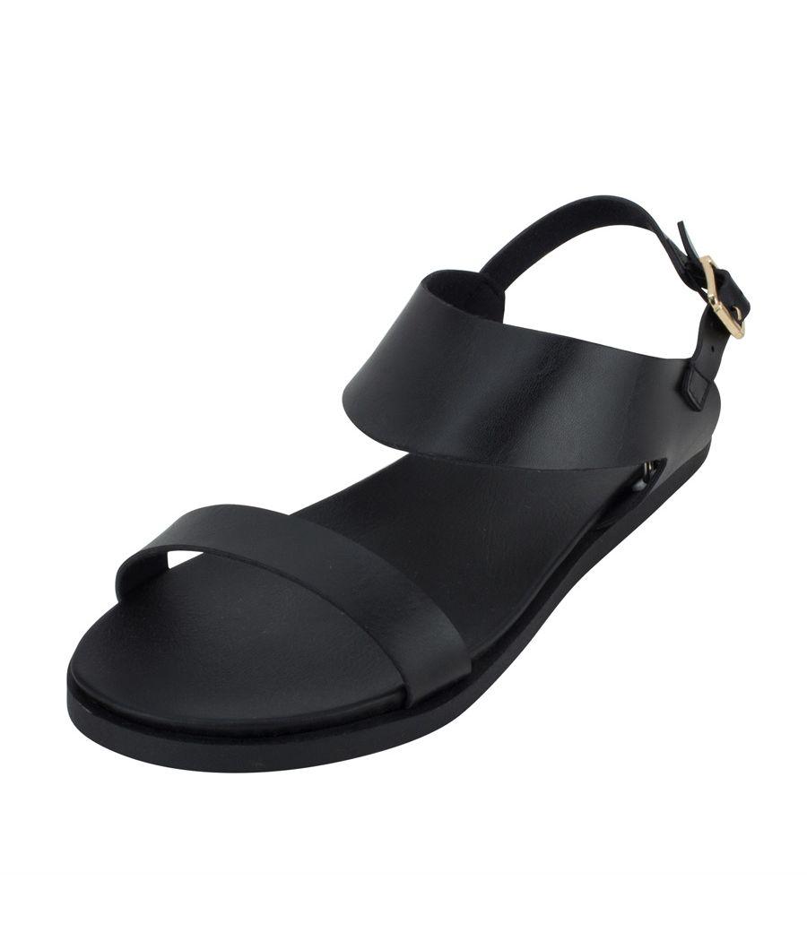 Estatos Metallic Shine Leather Open Toe Buckle Closure  Black Flat Sandals for Women