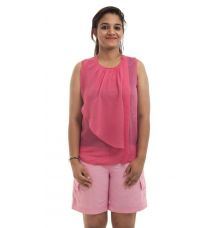 Max Georgette Solid Pink Sleeveless U Neck Ruffle Top