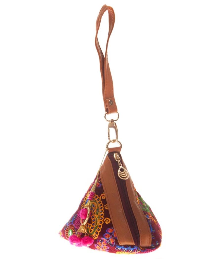 Envie Cloth/Textile/Fabric Magenta & Multi Embroidered Potli Bag