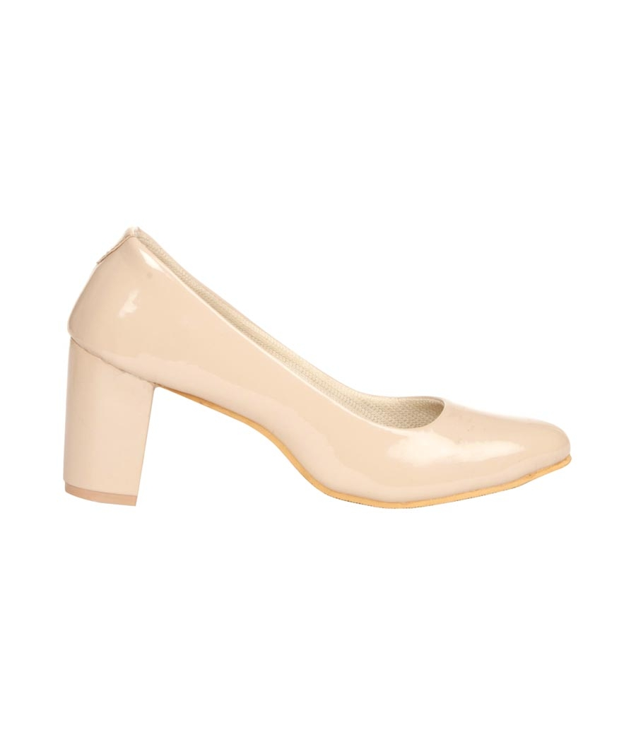 MCS Synthetic Leather Beige Coloured Broad Toe Formal Block Heel for Women