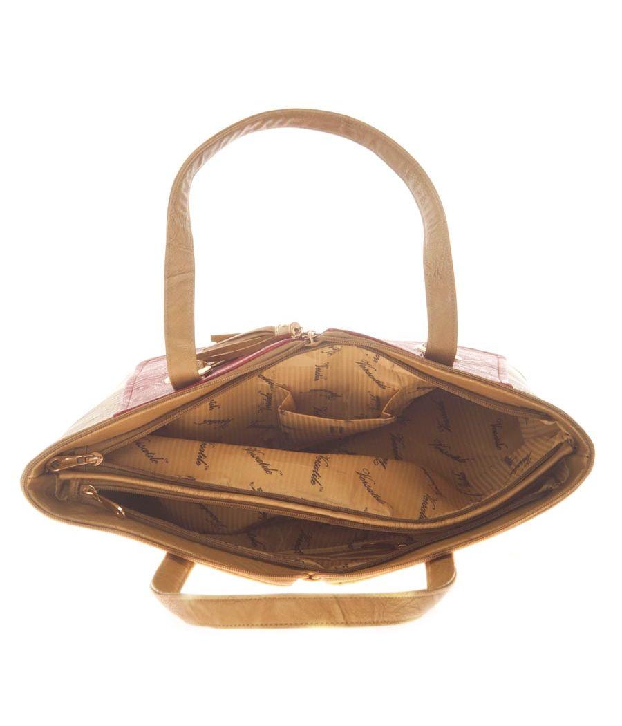 Aliado Faux Leather Solid Brown & Pink Zipper Closure Handbag for Women