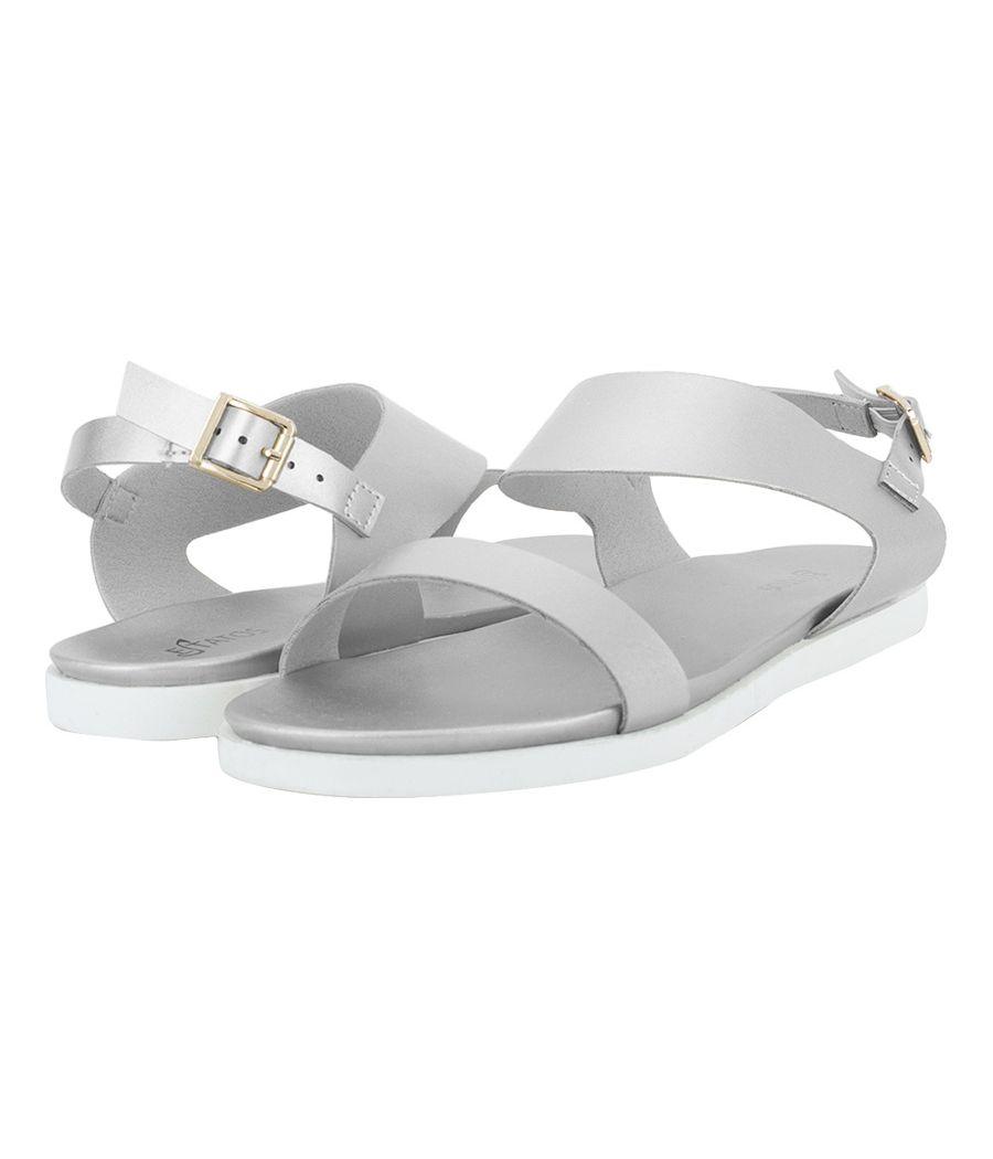 Estatos Metallic Shine Leather Open Toe Buckle Closure  Silver Flat Sandals for Women