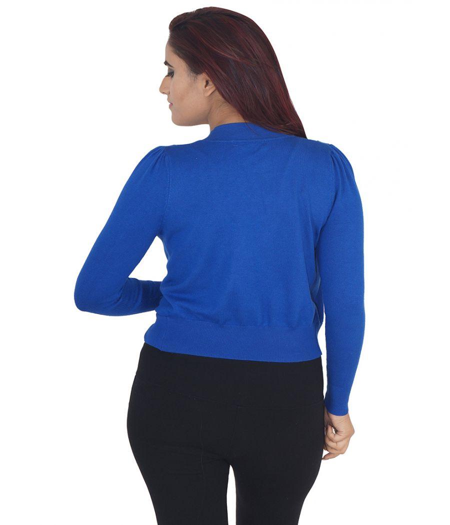 J & R Wool Solid Navy Blue Full Sleeved Waist Length Cardigan