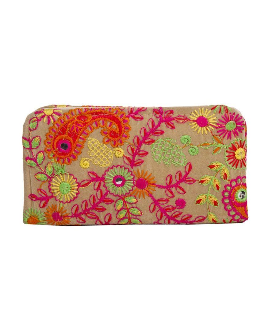 Envie Cloth/Textile/Fabric Embroidered Cream & Multi Zipper Closure Wallet