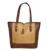 Aliado Faux Leather Solid Coffee Brown & Mustard Zipper Closure Tote Bag