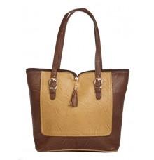 Aliado Faux Leather Solid Coffee Brown & Mustard Zipper Closure Tote Bag