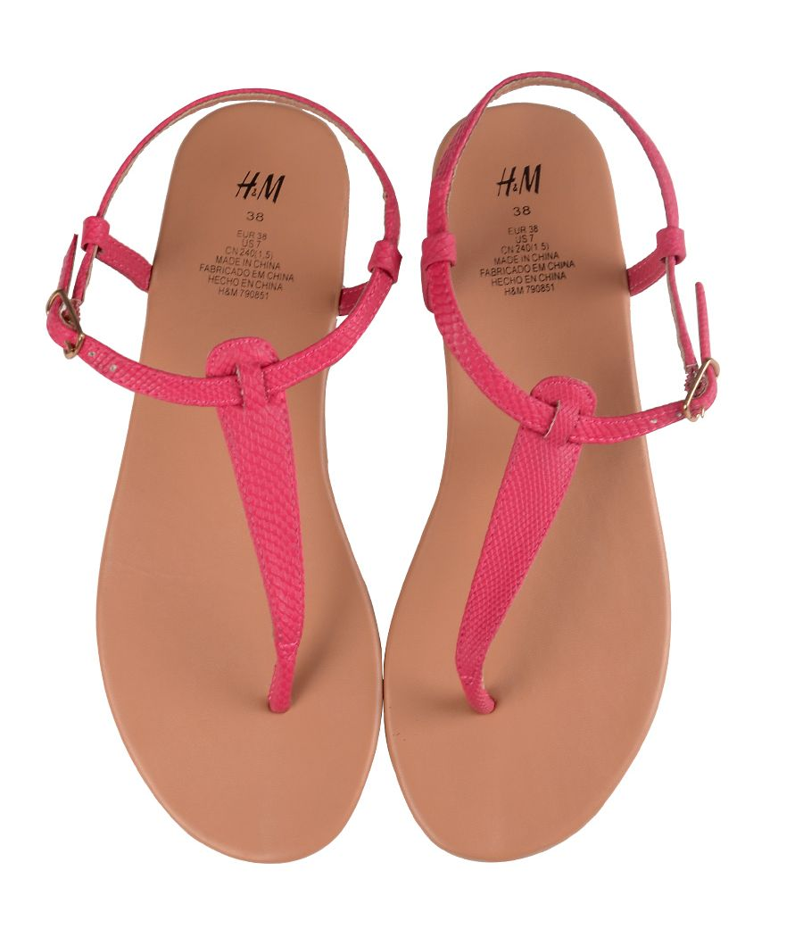 H&M Leather Strap Pink Flat Sandals
