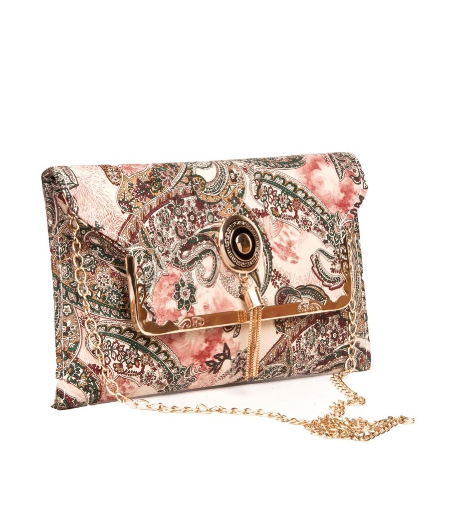Envie Faux Leather Printed Cream & Multi Fold Over Magnetic Snap Sling Bag for Women