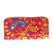 Envie Cloth/Textile/Fabric Embroidered Magenta & Multi Zipper Closure Clutch