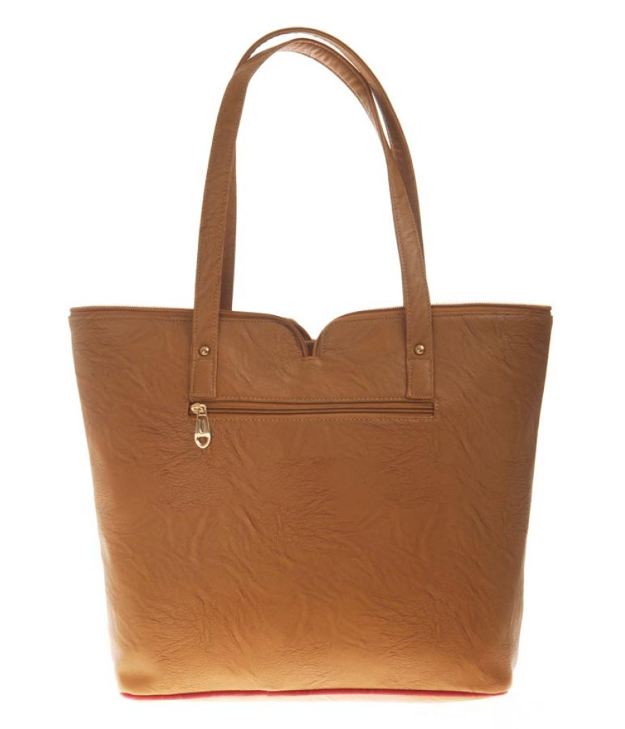 Aliado Faux Leather Solid Beige Zipper Closure Tote Bag for Women