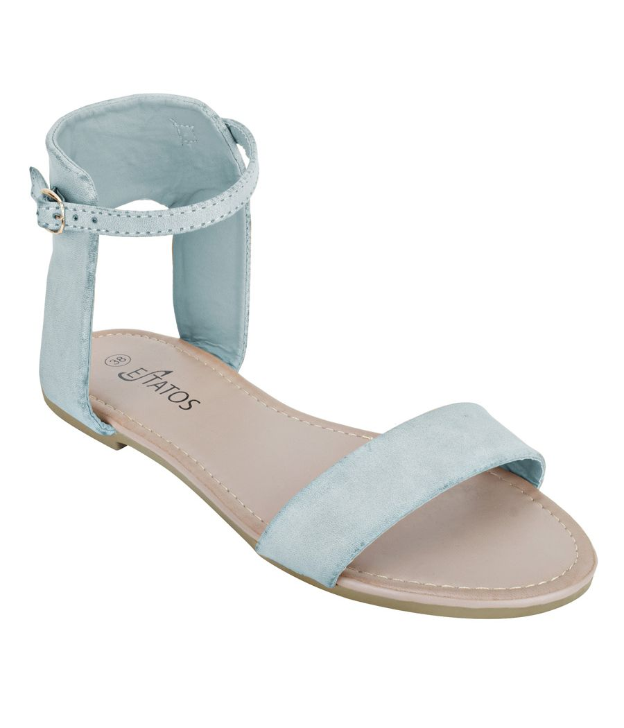 Estatos Frosted Leather Open Toe Ankle Strap Buckle Closure Light Blue Flat Sandals for Women