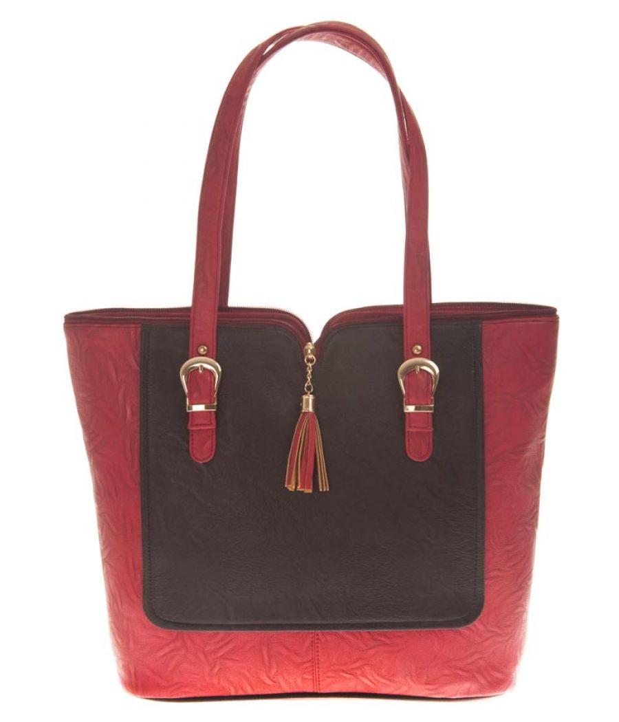 Aliado Faux Leather Solid Maroon & Black Zipper Closure Handbag
