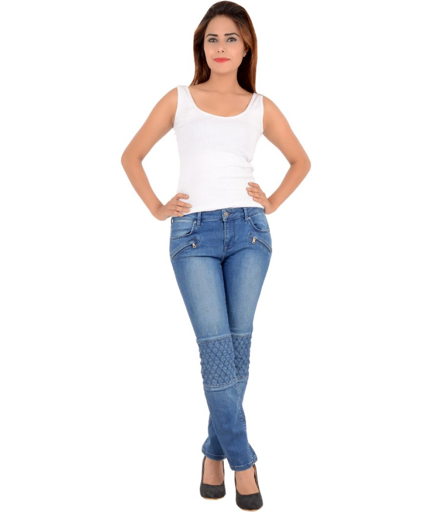 Leana Woman Blue Detailed Denims