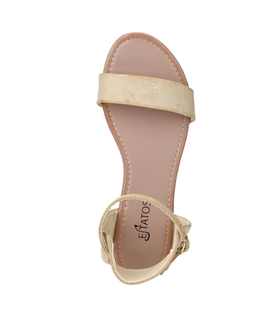 Estatos Frosted Leather Open Toe Ankle Strap Buckle Closure Light Brown Flat Sandals for Women