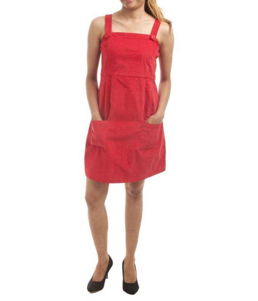 FZI Corduroy Solid Red Sleeveless Midi A-line Casual Dress