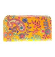 Envie Cloth/Textile/Fabric Yellow & Multi Zipper Closure Embroidered Clutch