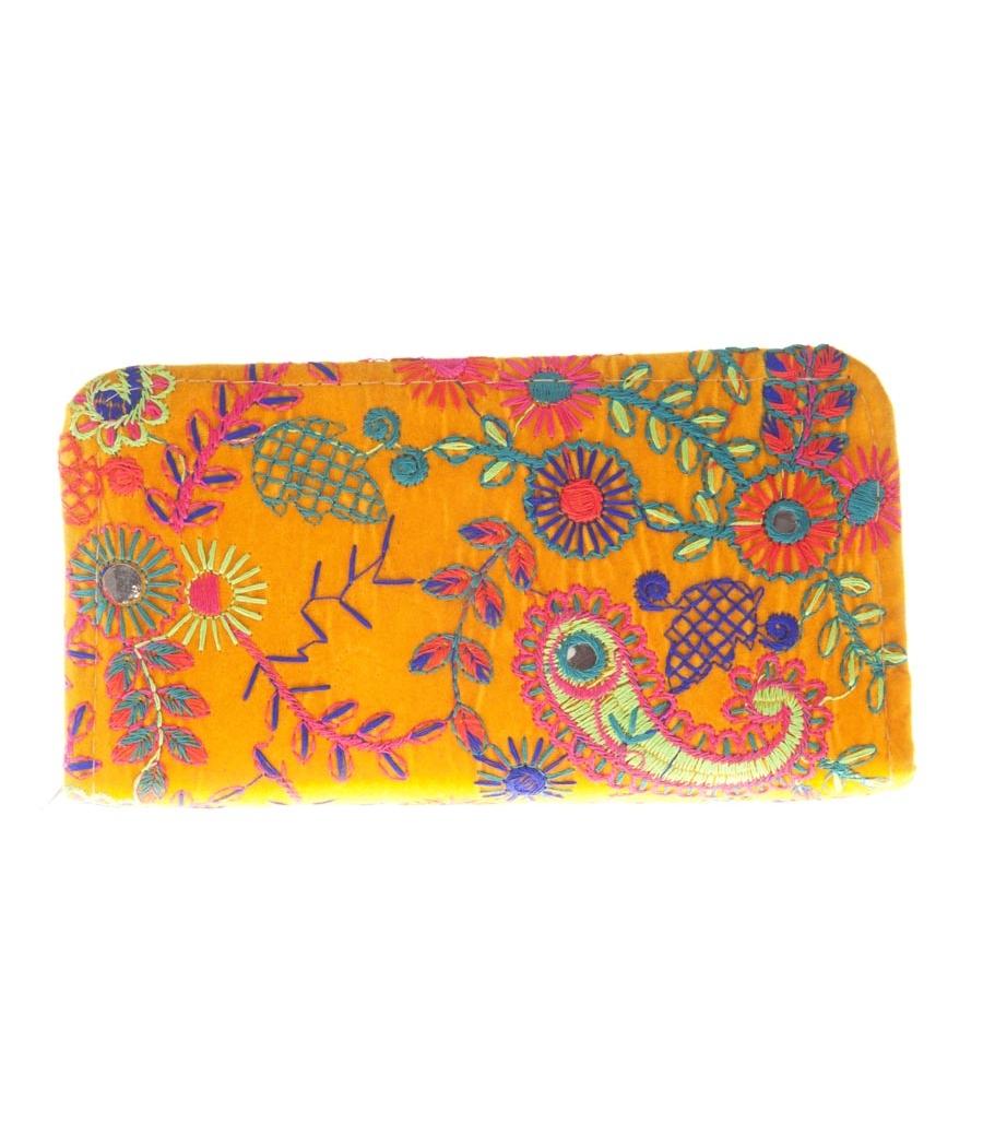 Envie Cloth/Textile/Fabric Yellow & Multi Zipper Closure Embroidered Clutch