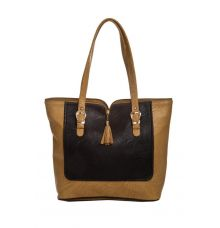 Aliado Faux Leather Solid Beige & Navy Blue Zipper Closure Handbag