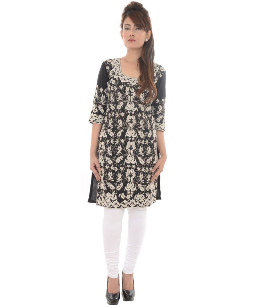 Cotton Leaves Embroidered Black Kurta