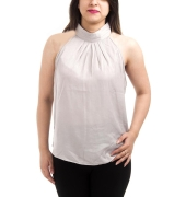 And Crepe Solid Off White Sleeveless High Neck Pleated Design Casual Top