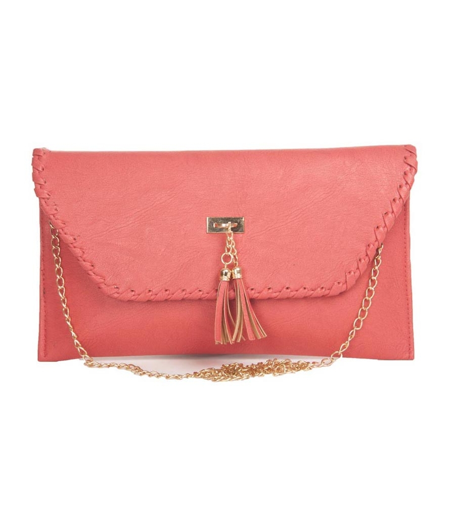 Envie Faux Leather Peach Fold Over Magnetic Snap Closure Sling Bag