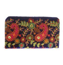 Envie Cloth/Textile/Fabric Embroidered Blue & Multi Zipper Closure Wallet