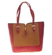 Aliado Faux Leather Solid Maroon & Brown Zipper Closure Tote Bag for Women